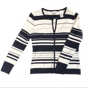 Striped cardigan sweater, navy and cream, SP